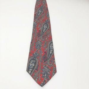 CHRISTIAN DIOR Silk Necktie Red Gray Paisley